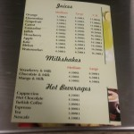 Juices & milkshakes menu